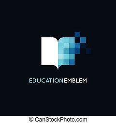 概念, 樣板, 摘要, -, 矢量, 設計, 學習, 在網上, 標識語, 教育