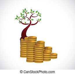 概念, 樹, 金錢, 插圖, 成長, 設計