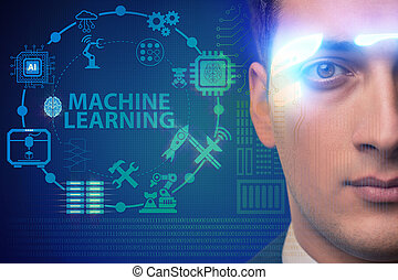 概念, 機械, 勉強, ビジネスマン, 未来派, ガラス
