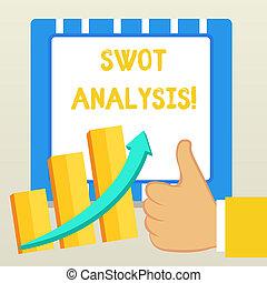 概念, 正文, 具有競爭性, 使用, analysis., 拇指, 圖表, 寫, arrow., 表現, 好, 事務, 評价, 公司, 上升, 框架, 詞, swot, 酒吧, 成功, 向上, s, escalating, 位置