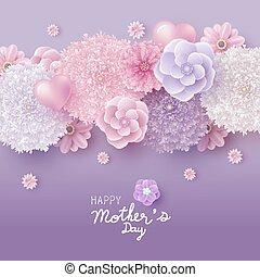 概念, 母, イラスト, ベクトル, デザイン, 花, 日, カード