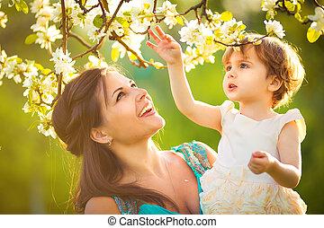 概念, 母, 春, 咲く, 女, 子供, 接吻, woman., 休日, 日, garden.child, 幸せ