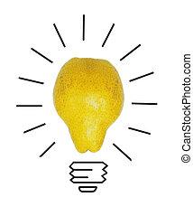 概念, 比喩, ライト, ナシ, 考え, 黄色, よい, 電球, インスピレーシヨン