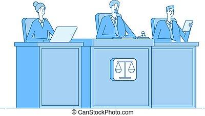 概念, 法廷, 進みなさい, 正義, justice., 司法部, 犯罪, ベクトル, 法廷, 被告, 犯罪者, 裁判所...