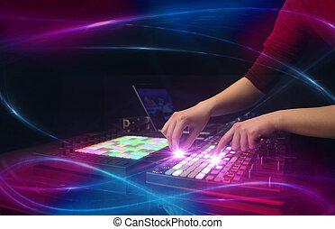 概念, 波浪, 音乐, 混合, 手, vibe, 控制器, dj