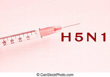 概念, 流行性感冒,  h5n1, 病毒, 鳥