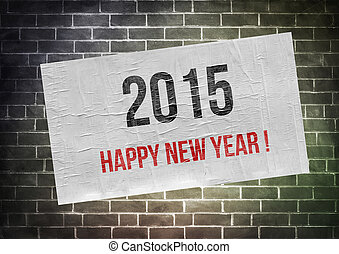 !, 概念, 海報, -, 年, 2015, 新, 愉快