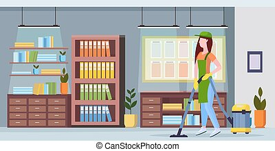 概念, 清洁工, 妇女, 中心, 服务, 地板, co-working, 办公室, 现代, 真空, 制服, 长度, 充足, 套间, 打扫, 真空, 内部, 使用, 水平, 女孩