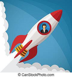 概念, 火箭, 事務, 空間, 從事工商業的女性, 啟動, 窗口, 矢量