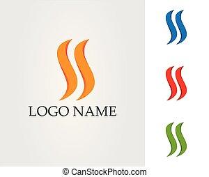 概念, 火, エネルギー, ガス, オイル, ベクトル, 炎, テンプレート, ロゴ, アイコン