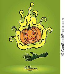 概念, 火, 背景, 手, 悪魔, 緑, 浮く, カボチャ