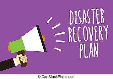 概念, 災害, テキスト, plan., メッセージ, 回復, 執筆, 熱いスピーカー, 問題, 公共の通知, ビジネス, 処置, 手, 単語, 音, announcement., 危ない, 警報, に対して, 状態, バックアップ, 持つこと