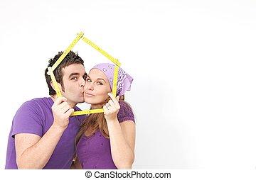 概念, 為, 夫婦, 購買, 或者, 出租, 新的家, 或者, 房子