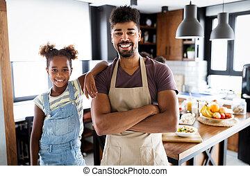 概念, 父, 幸せ, 料理, 子供, 健康に良い食物, kitchen., 家族