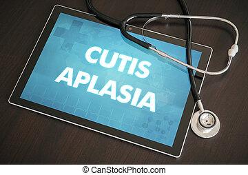 概念, 牌子, 医学, 真皮, aplasia, 听诊器, 诊断, (cutaneous, 屏幕, disease)