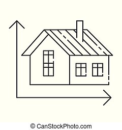 概念, 現代, イラスト, ベクトル, 測定, 家, 描写, アイコン