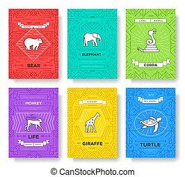 概念, 現代, banners., flyear, レイアウト, 雑誌, 品質, set., バックグラウンド。, 本, 動物, ポスター, 要素, テンプレート, カバー, パンフレット, 線, ページ, 野生生物, アウトライン, 薄くなりなさい, 招待, カード