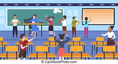 概念, 現代, vr, によって, レッスン, 技術, ヘッドホン, 生徒, バーチャルリアリティ, 混合, デジタル, 内部, 3d, 身に着けていること, 平ら, 学童, の間, 横, 教室, 学校, 経験, レース, ガラス