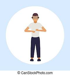 概念, 現代, vr, によって, 技術, ヘッドホン, 特徴, バーチャルリアリティ, デジタル, 3d, 身に着けていること, 平ら, フルである, 漫画, 人, 経験, 長さ, 人, マレ, ビジョン, ガラス