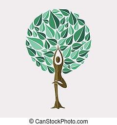 概念, 瑜伽, 自然, 姿態, 樹, 連接