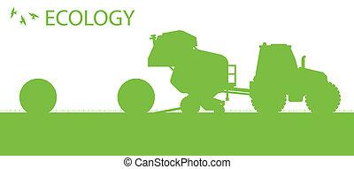 概念, 生態學, 有机, 海報, 干草, 矢量, 背景, 做, 務農, 包, 拖拉机
