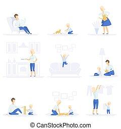 概念, 生活方式, 家庭, 他们, 放置, 一起, 开支, 矢量, 父母, 背景, 时间, 图解, 白色, 家庭作业, 孩子