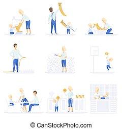 概念, 生活方式, 家庭, 他们, 放置, 时间, 开支, 矢量, 父母, 背景, 一起, 图解, 白色, 玩, 家庭作业, 孩子