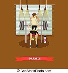 概念, 生活方式, 工作, 健康, 插圖, 長凳, gym., 矢量, 壓, 使用, 人, barbell., 在外
