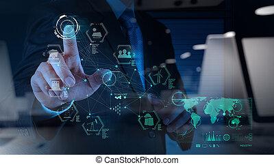 概念, 産業, 事実上, 図, コンピュータは働く, エンジニア