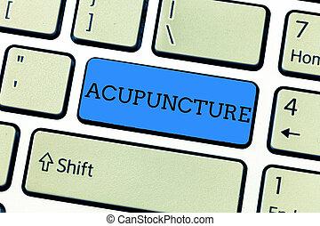 概念, 痛み, テキスト, 針, 執筆, 意味, 病気, 療法, 待遇, 使うこと, 手書き, acupuncture., 選択肢