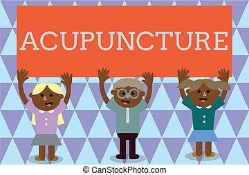 概念, 痛み, テキスト, 針, 意味, 病気, 療法, 待遇, 使うこと, 手書き, acupuncture., 選択肢