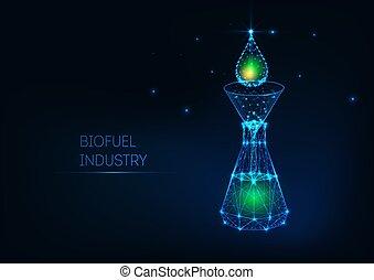 概念, 白熱, 緑, 低下, 石油, 産業, poly, じょうご, biofuel, flask., 低い, 未来派