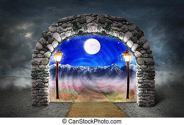 概念, ......的, 不同, dimension., 路徑, 在中間, the, 花, 后退, 進, 另一個,...