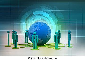概念, ......的, 全球的商務, 网絡