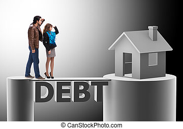 概念, ......的, 家庭, 拿, 抵押貸款, 為, 房子