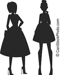 概念, ......的, 現代, 時裝, 女孩, 黑色半面畫像, 以及, 美麗, 風格, girls.