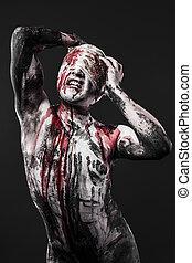 概念, ......的, 痛苦, a, 人, 由于, 血液, 上, 他的, 創傷, 以及, 皮膚