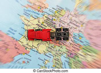 概念, ......的, 貨物, transportation., the, 卡車, 是, 上, the, 地圖, 在, france.