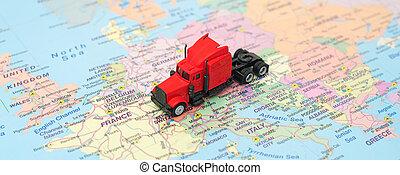概念, ......的, 貨物, transportation., the, 卡車, 是, 上, the, 歐洲, map.
