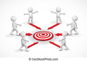 概念, 目標, 人們, 小, logo., 3d