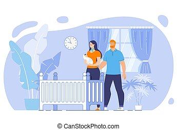 概念, 睡眠, 平ら, 新生, ベクトル, 幸せ, 赤ん坊