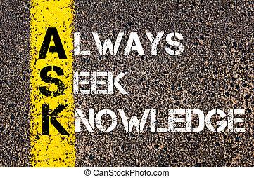概念, 知識, always, -, 尋ねなさい, 探しなさい