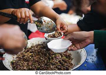概念, 社会, 飢餓, 分け前, 助力, poor:, 食物