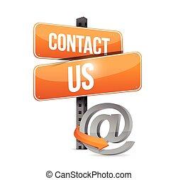 概念, 私達, 印, 連絡, デザイン, イラスト, オンラインで