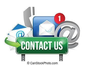 概念, 私達, 印, 連絡, デザイン, イラスト