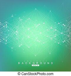概念, 科学, dots., 抽象的, イラスト, ベクトル, 接続される, 背景, 幾何学的なライン, あなたの,...