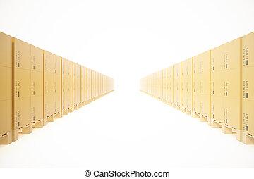 概念, 積み重ねられた, バックグラウンド。, 木製である, 隔離された, 出荷, レンダリング, 箱, パレット, 倉庫, 交通機関, 白, ボール紙, 3d