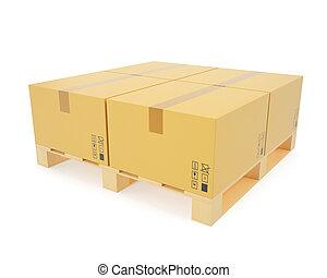 概念, 積み重ねられた, 木製である, 箱, pallets., 倉庫, ボール紙