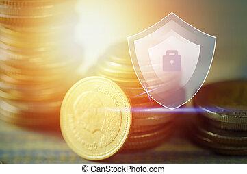 概念, 積み重ねられた, 金融, お金, 保護, コイン