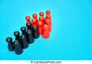 概念, 立つ, symbolyzed, copyspace., 上, 首尾よく, -, 一緒に, ビジネス, arrow., チームワーク, チーム, 上昇